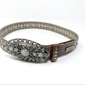 Guess pearl studded rhinestone western buckle belt